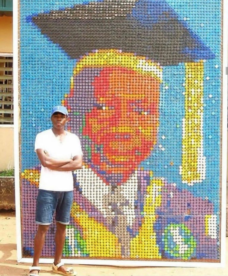 Bottle Covers Used To Make Portrait Picture By Uniben Student