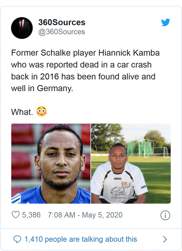 Footballer Who 'Died' 4 Years Ago In A Car Crash Found Alive Practicing As A Chemist