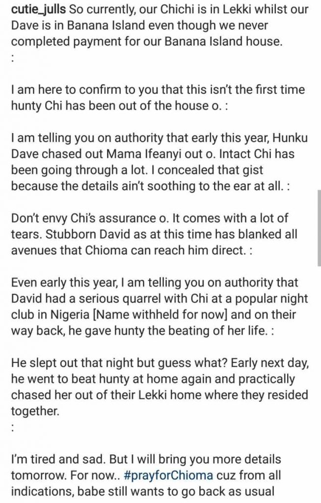 Davido Beats Chioma And Chased Her out Of Their Home