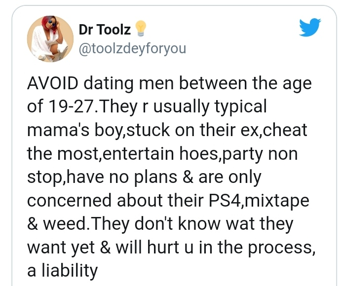 Men From Age 19 To 27 Are Liabilities, Don't Date Them – Nigerian Lady